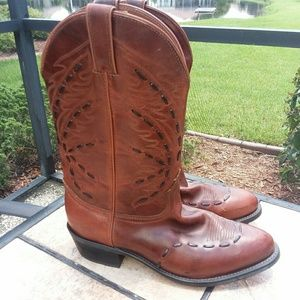 Brown Thick Stitched Cowboy Boots Men's Size 10